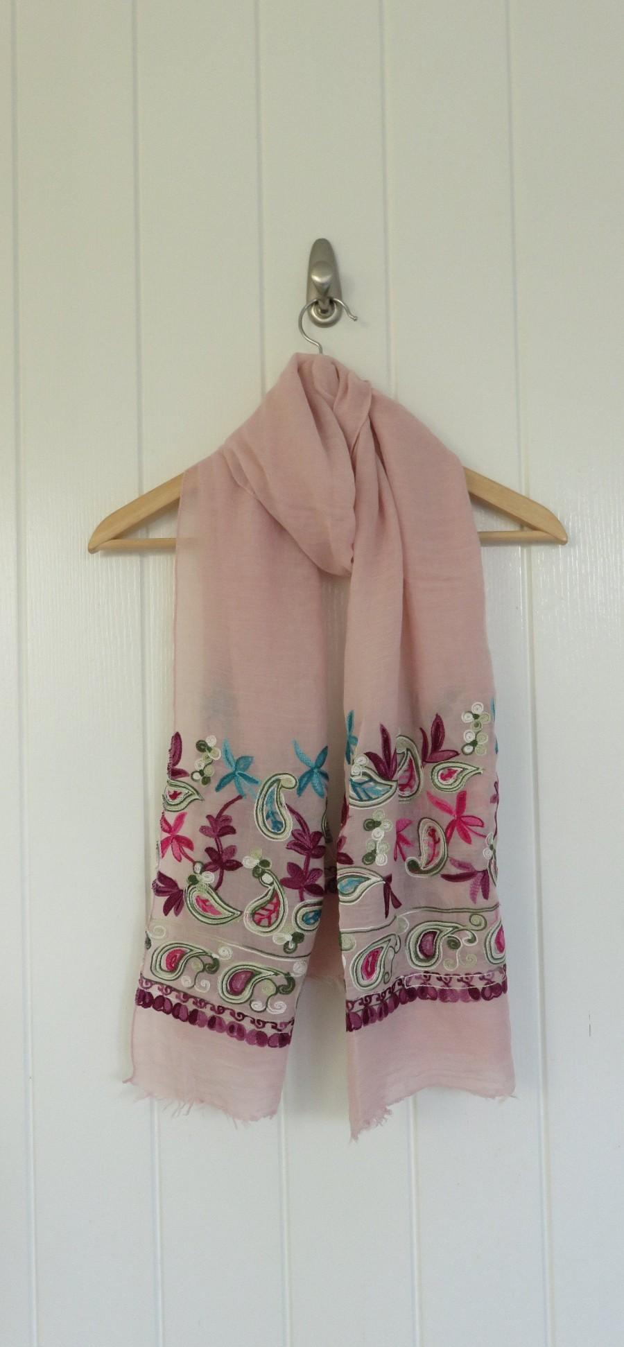 Wedding - Embroidered Scarf Pink Blue Mauve, Gift for Her, Sarong, Lightweight, Unique Gift