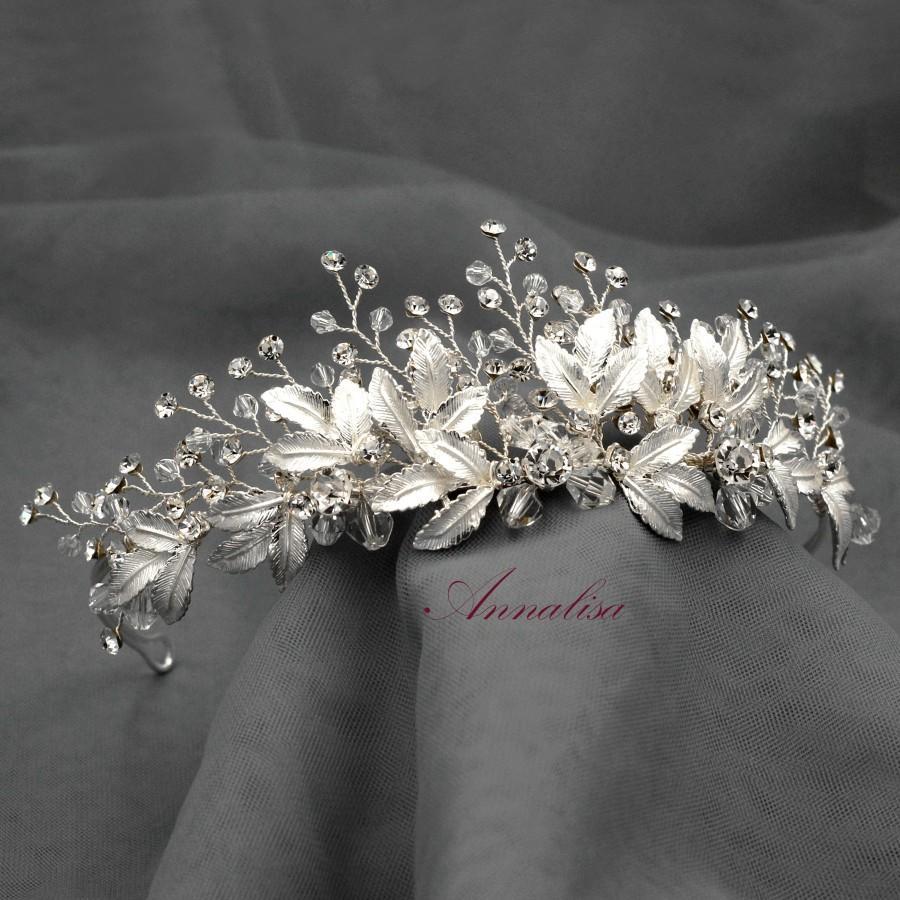 Hochzeit - Bridal Leaf Crown, Crystal Wedding Tiara, Silver Wedding Crown, Floral Bridal Tiara, Flower Crown, Silver Leaf Wedding Tiara HMH023201