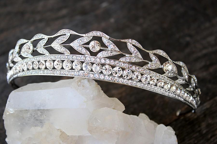 Hochzeit - Bridal Tiara -  KENNEDY, Swarovski Bridal Tiara, Downton Abbey Tiara, Wedding Tiara, Bridal Crown, Art Deco Tiara Art Deco Headpiece Tiara
