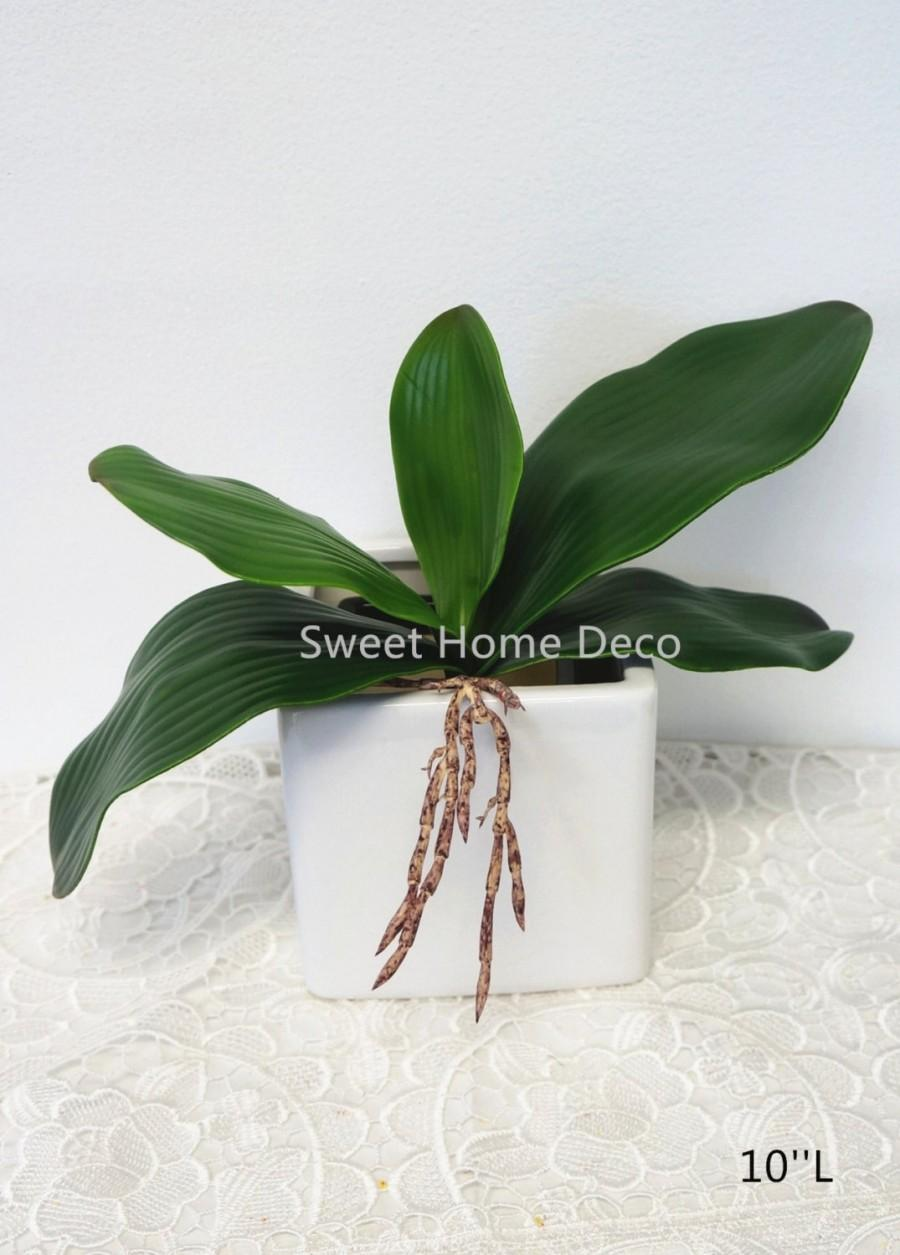 Mariage - JennysFlowerShop Gel Coated Phanaenopsis Orchid Artificial Greenery Leaf with Realistic Roots