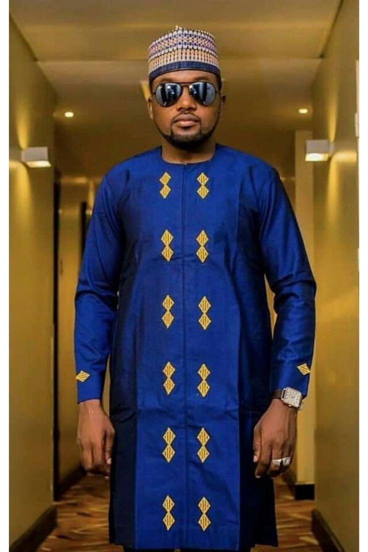 Mariage - blue and gold men's African outfit, African men's clothing / wedding suit/dashiki / African men's shirt/ vêtement africain/ chemise et panta