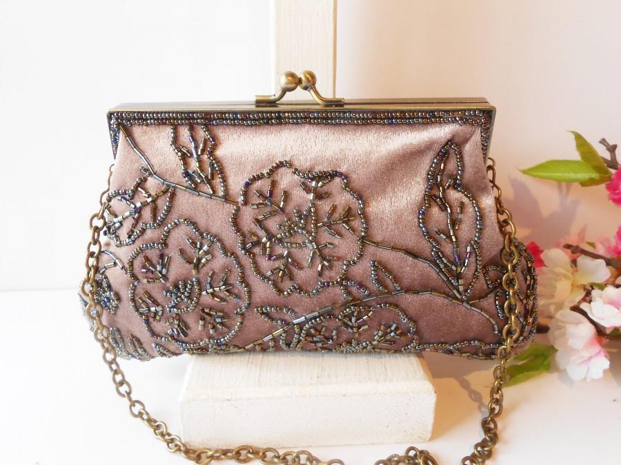 Mariage - Vintage Velvet Evening Bag, Dusty Rose Velvet Bag, Beaded Trim EB-0134