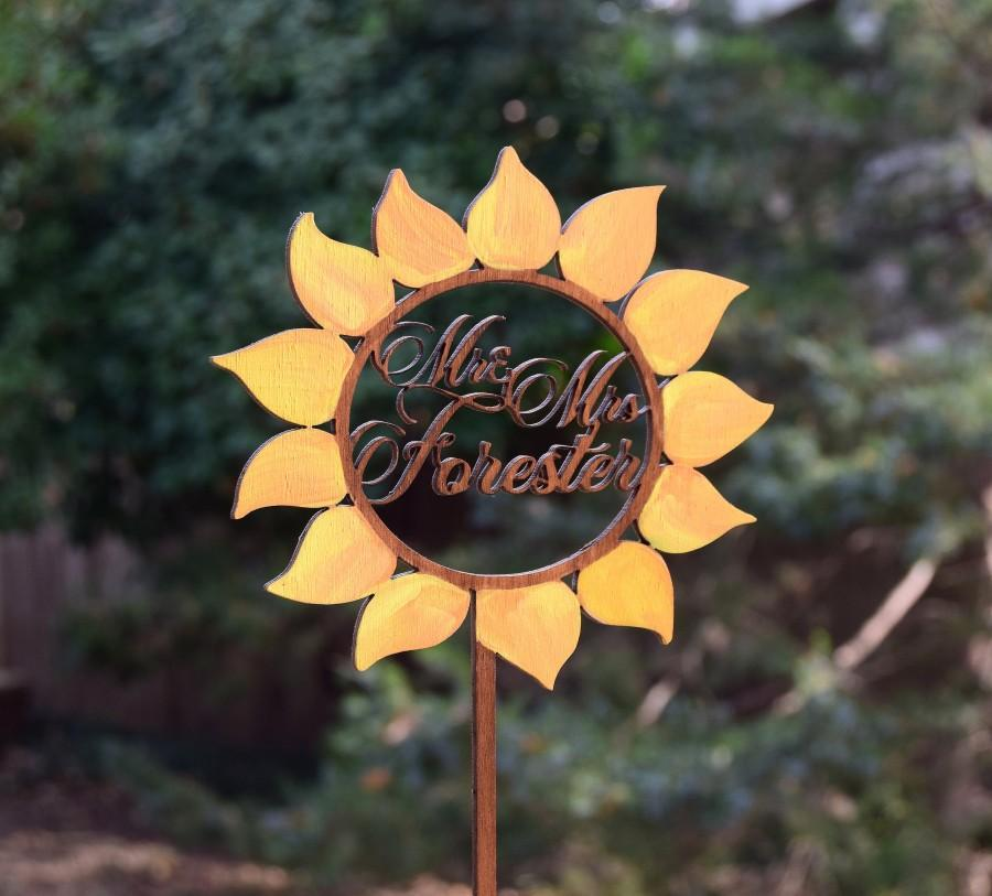 Wedding - Sunflower Wedding Cake Topper,Rustic Cake topper,Personalized Cake Topper, Engraved Wood Cake Topper, Gold Sunflower Decor, Sunflower Decor