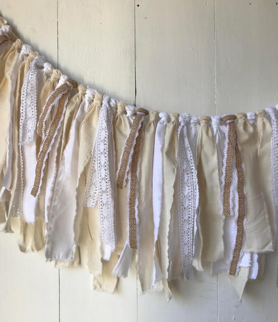 Mariage - Farmhouse Rag Tie Scrappy Garland Banner Bunting