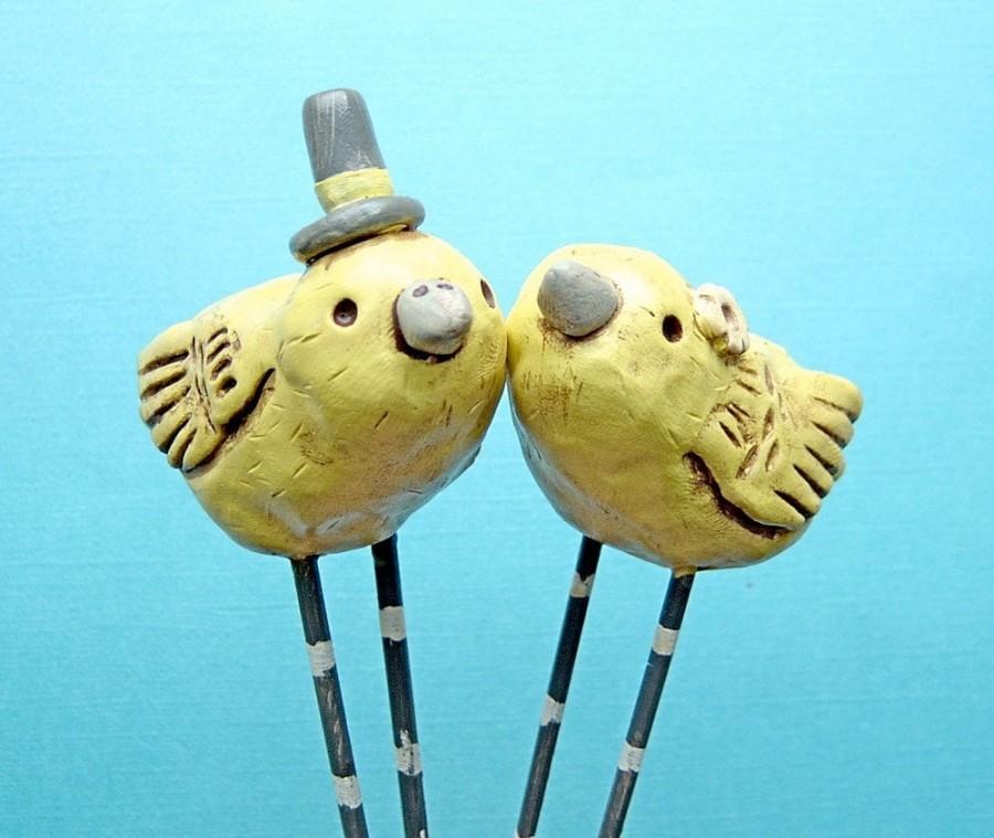 Wedding - Lemon Yellow Birds Wedding cake topper