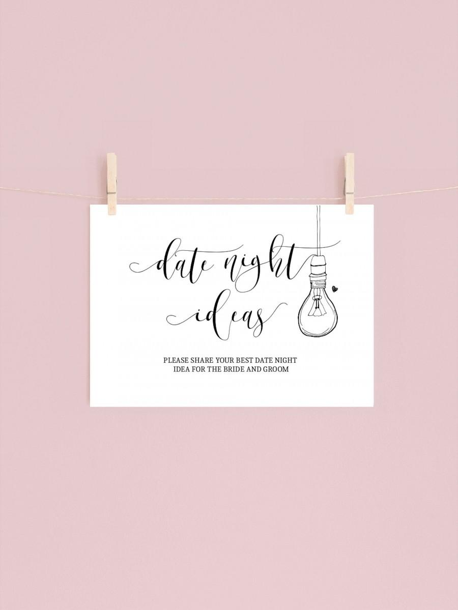 Wedding - DATE NIGHT IDEAS signs and cards (5x7 & 8x10)