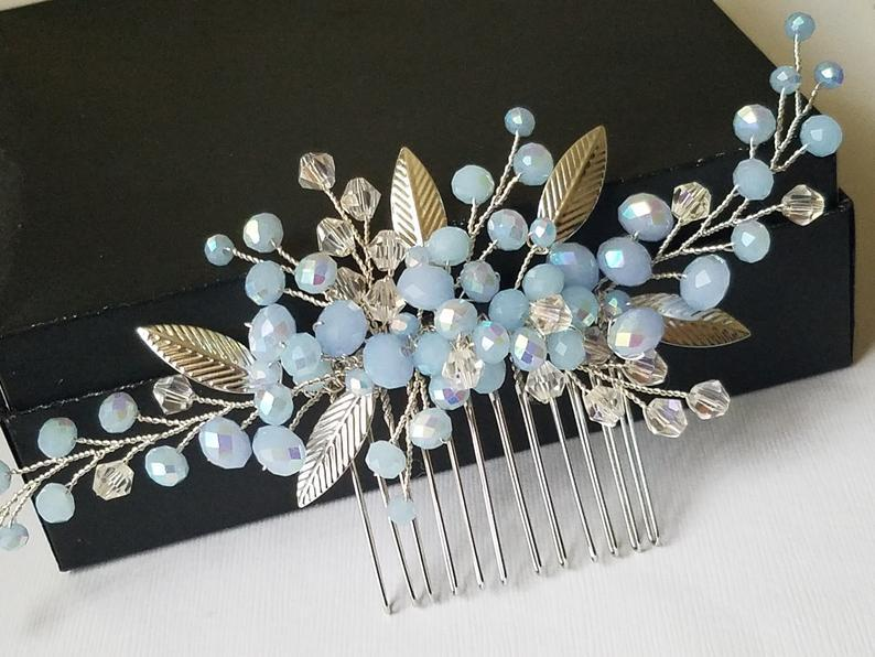 زفاف - Dusty Blue Hair Comb, Bridal Blue Silver Headpiece, Light Blue Hair Piece, Wedding Blue Headpiece, Bridal Hair Jewelry Prom Hair Accessories