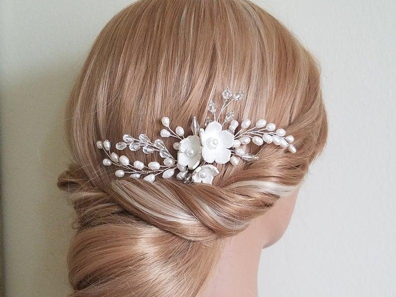 زفاف - Wedding Pearl Hair Comb, Bridal Hair Piece, Freshwater Pearl Crystal Comb, Bridal Hair Jewelry, Wedding Pearl Floral Hair Comb, Flower Comb