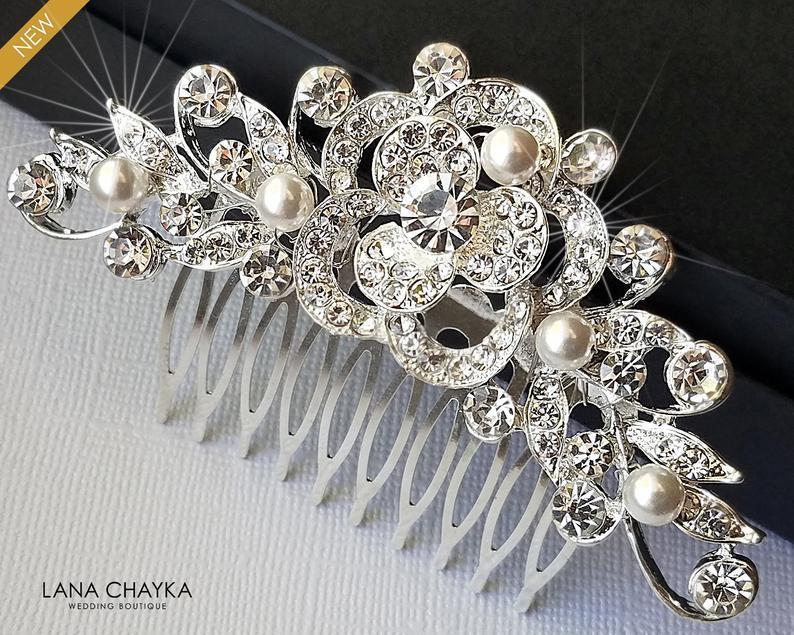 زفاف - Bridal Crystal Hair Comb, Wedding Crystal White Pearl Hair Comb, Bridal Hair Piece, Bridal Hair Jewelry, Crystal Silver Floral Bridal Comb