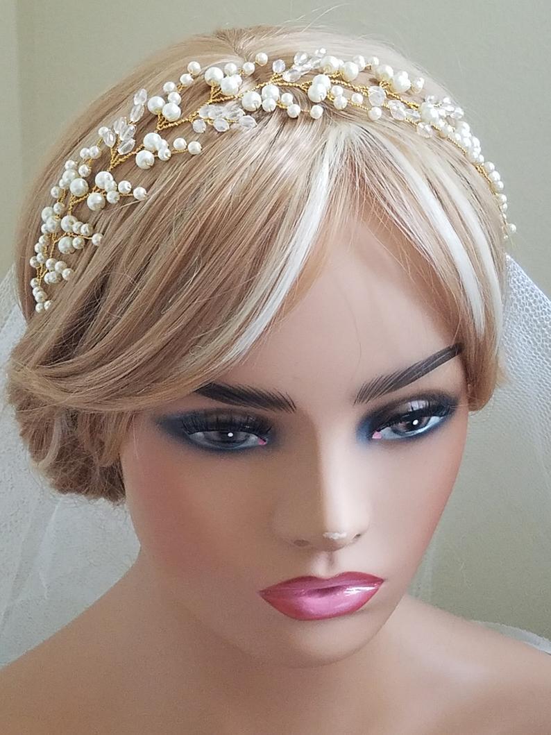 زفاف - Pearl Crystal Bridal Hair Vine, Wedding Pearl Hairpiece, Pearl Gold Headpiece, Pearl Hair Jewelry, Bridal Hair Accessories Pearl Gold Wreath