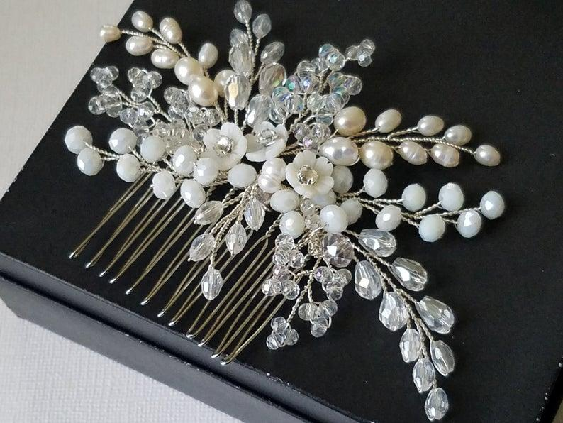 Свадьба - Wedding Hair Comb, Bridal Pearl Crystal Hairpiece, Pearl Crystal Floral Headpiece, Wedding Hair Jewelry, Bridal Hair Piece, Hair Accessories
