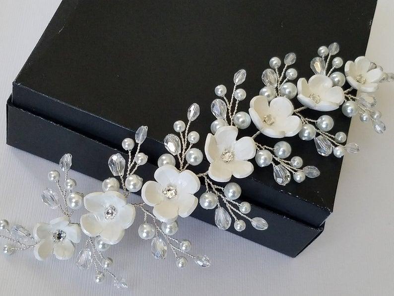 زفاف - Wedding Hair Vine, White Pearl Hair Piece, Bridal Floral Headpiece, Bridal White Flower Wreath, Wedding Pearl Hair Jewelry, Bridal Hair Vine