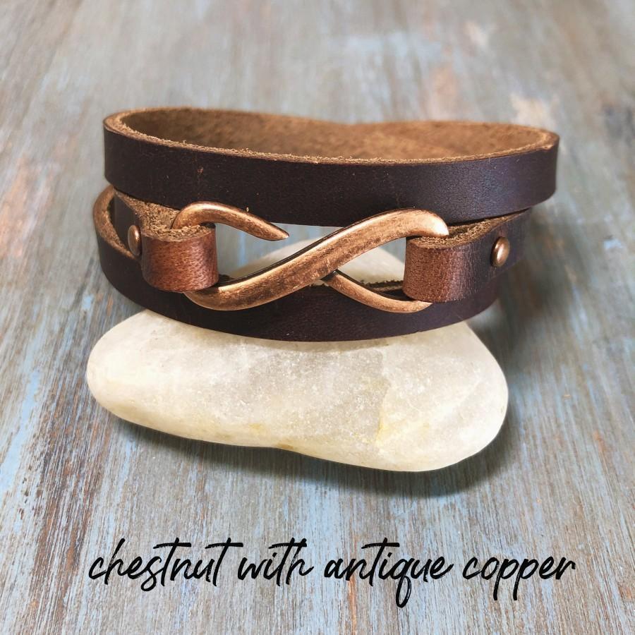 Mariage - Infinity Leather Wrap Bracelet - Womens Leather Cuff - Boho Leather Wrap - Minimalist Wrap