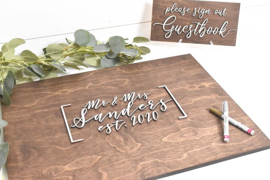 Hochzeit - 3D Wedding Guest Book Alternative - Rustic Guest book - Wooden 3D Guest Book Sign - Unique Wood Guestbook - Mr and Mrs Wedding Sign
