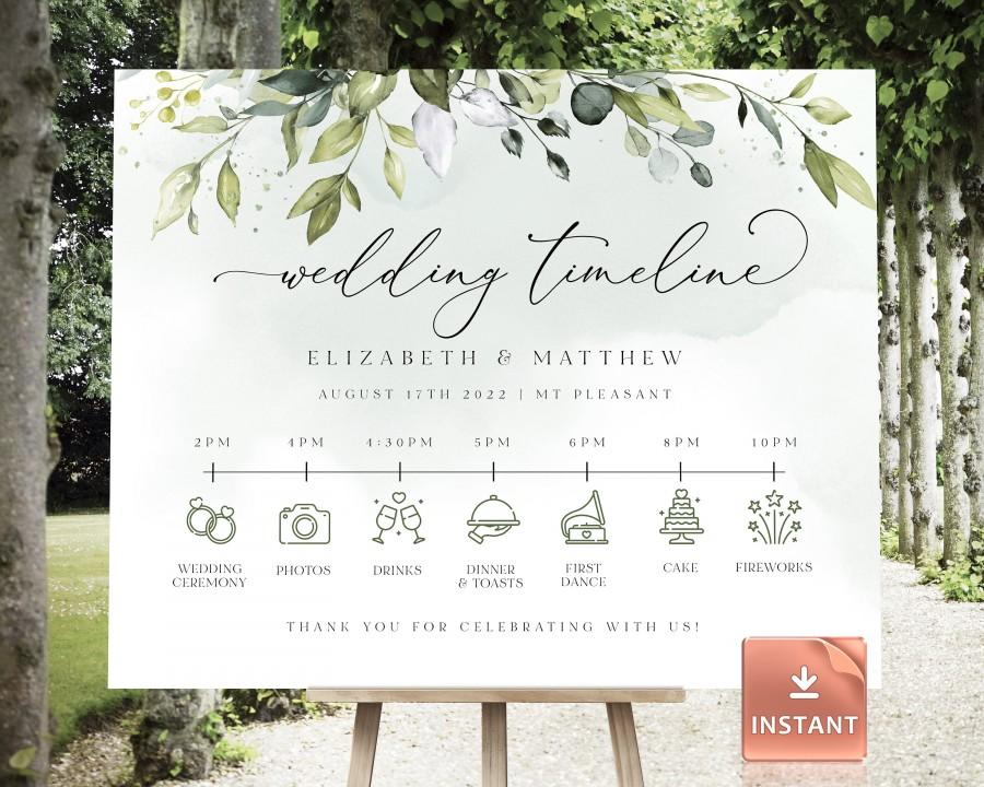 Mariage - REESE - Customizable Wedding Timeline Poster, Editable Sign Template, Printable Wedding Day Schedule, Groomsmen Itinerary, Bridesmaid Agenda
