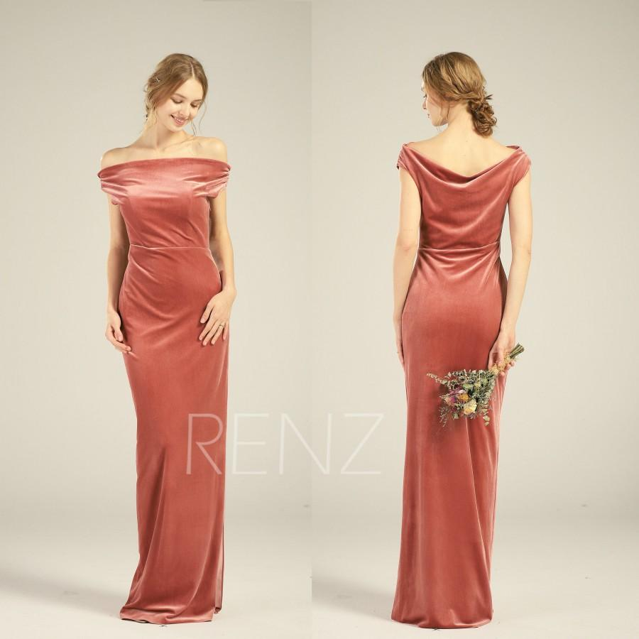 Свадьба - Velvet Bridesmaid Dress English Rose Wedding Dress Off Shoulder  Infinity Velvet Prom Dress with Slit Cowl Neck Bridal Party Dress (HV769)