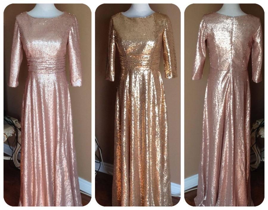 Hochzeit - Long Sleeves sequin bridesmaid dress, Fully cover, a-line skirt, sequin maxi dress