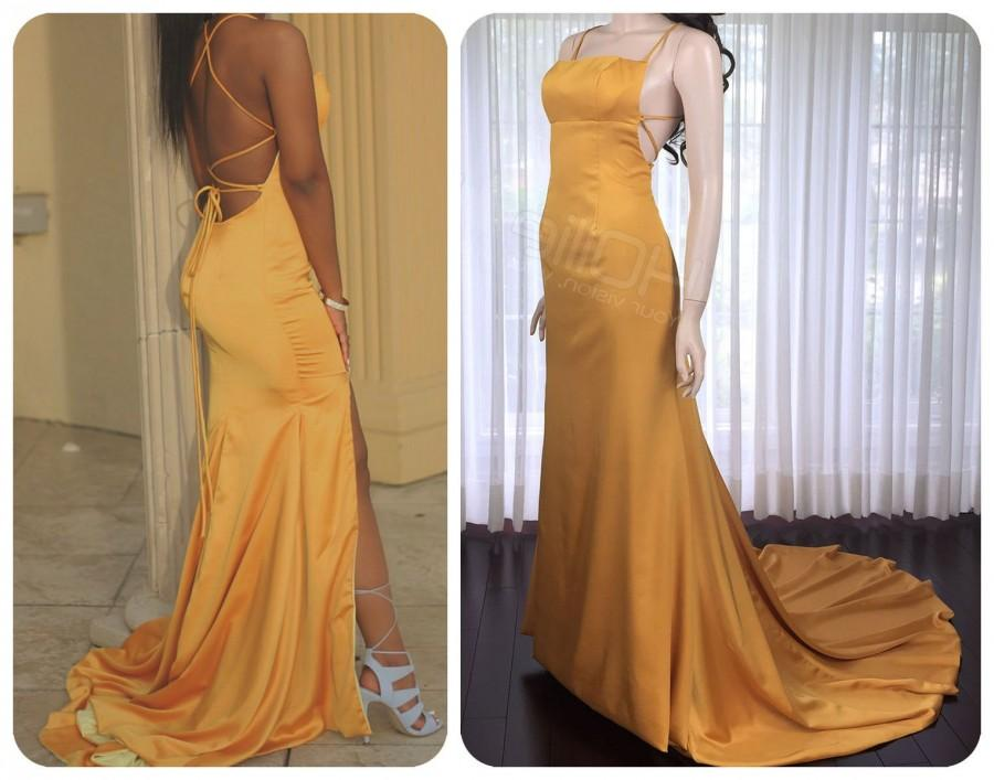 Hochzeit - Gold prom dress with open back, mermaid skirt and a train
