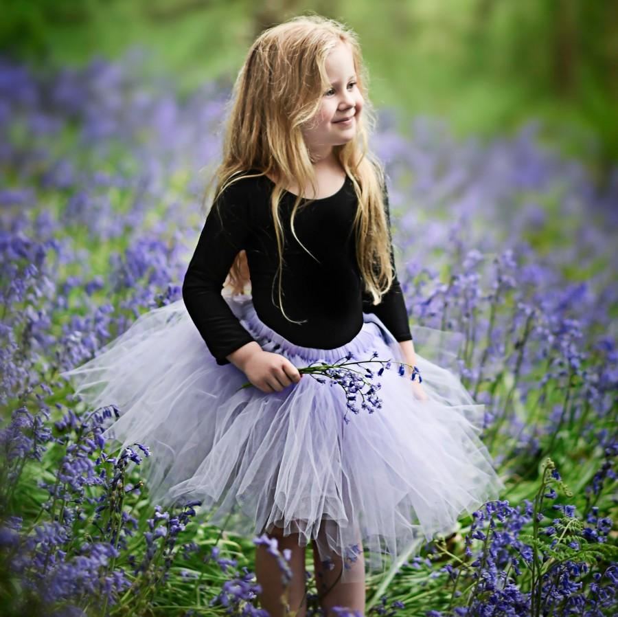 Свадьба - Knee Length Tulle Tutu Skirt, Purple, Lilac, Lavender, plum, Custom Colour Flower Girl Dress, Ballet Tutu UK, Flower Girl Bridesmaid Skirts