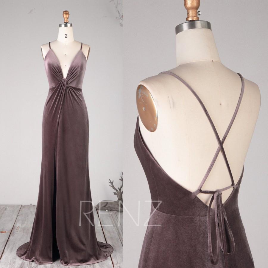 Hochzeit - Prom Dress Dark Mauve Velvet Ruched V Neck Bridesmaid Dress Spaghetti Straps Lace-up Wedding Dress Backless Slit Long Train Ball Gown(HV793)