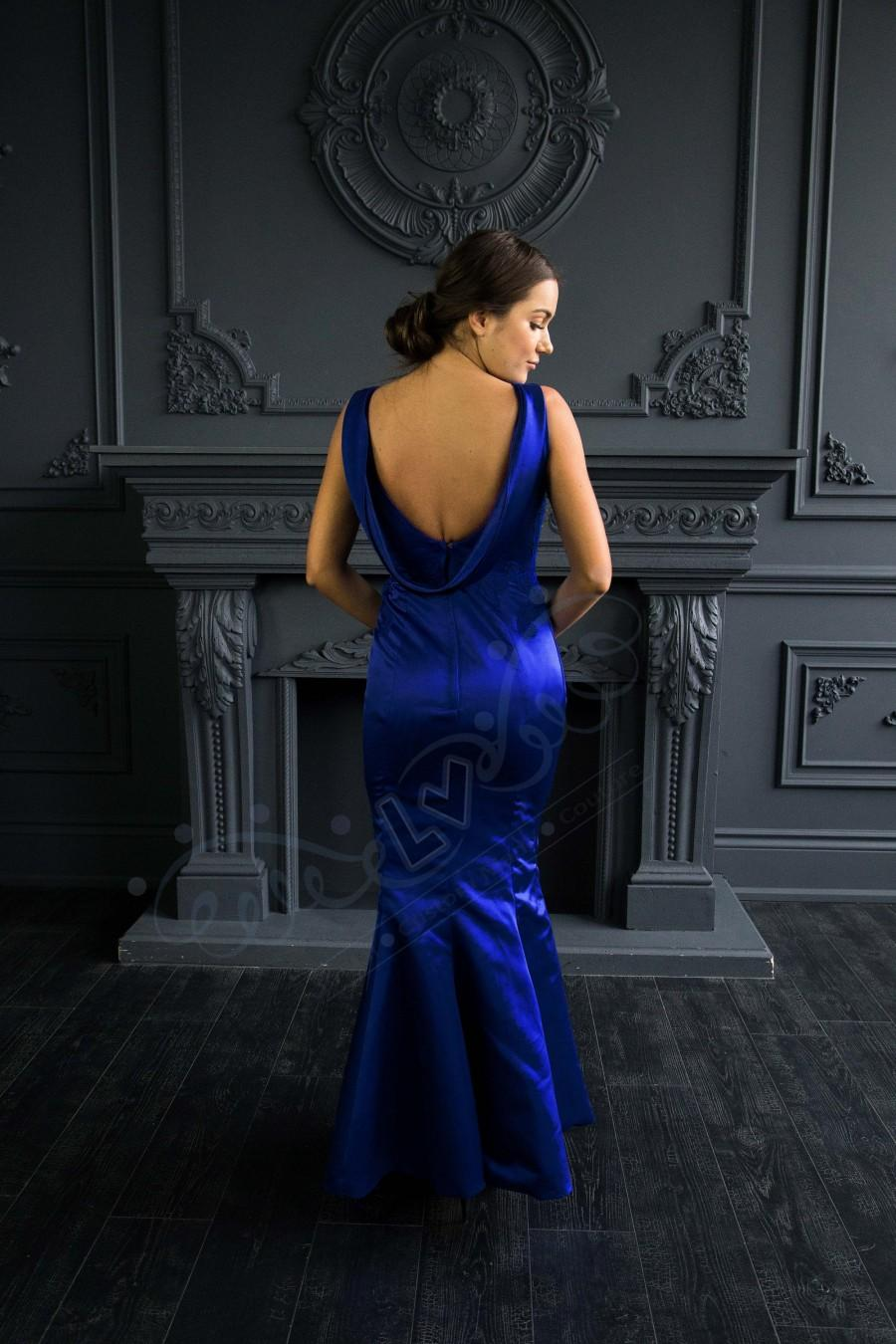 Mariage - Royal blue bridesmaid dress with lace details and cowl back
