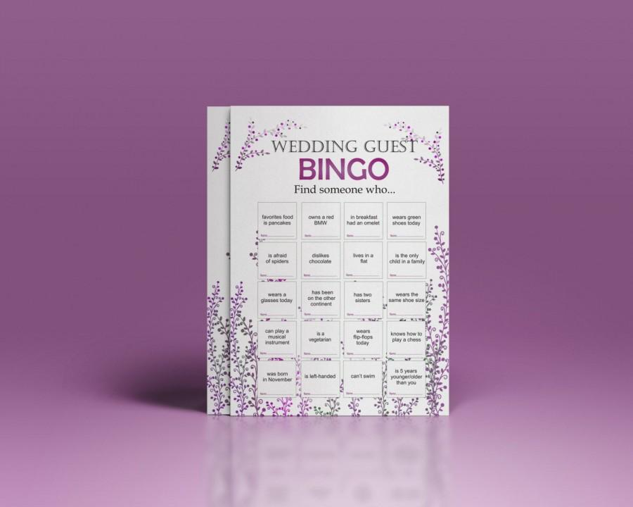 Wedding - Wedding reception games, customized wedding game, wedding games for guests, printable bingo game, icebreaker for guests. wedding bingo