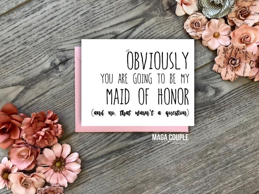 Hochzeit - Funny Bridesmaid Card • Will You Be My Bridesmaid • Proposal Card • Obviously You Are Style 1