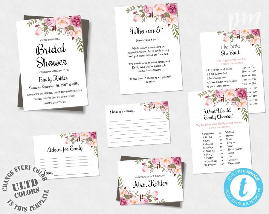 Wedding - Bohemian Floral Bridal Shower Template Suite, Boho Invitation Set, Pink Floral Bridal Shower Game Pack, DIY Edit + Print Yourself, WSBH