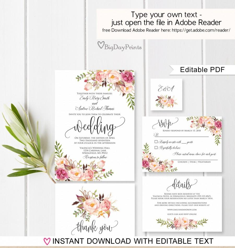 زفاف - Wedding Invitation Template, Floral Wedding Invitation Suite, Boho Chic Wedding Set, #A049, Instant Download Editable PDF