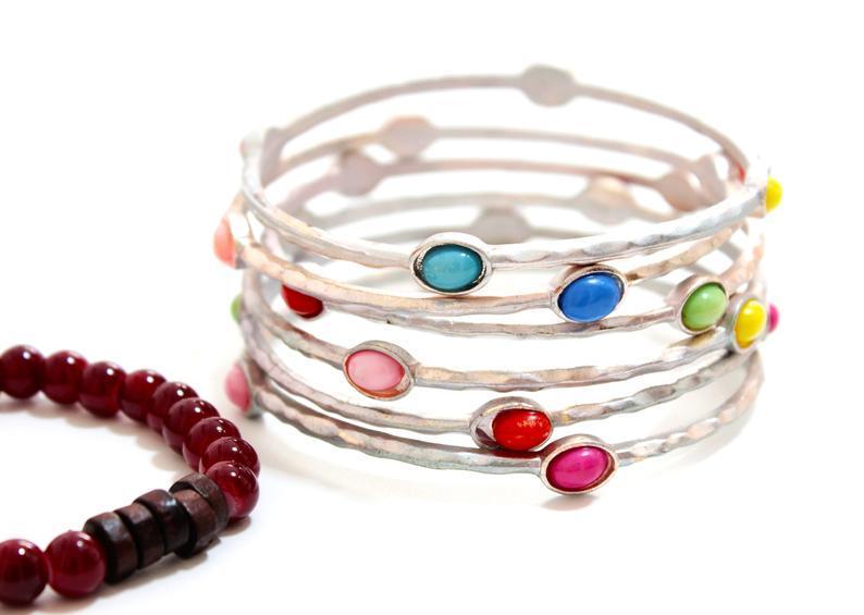 زفاف - Silver Layered Bracelet For Women, Boho Bracelet Set, Set of 7 bracelets, Hammered Silver Stacking Bangles, Layered Bangles, Boho Bangles