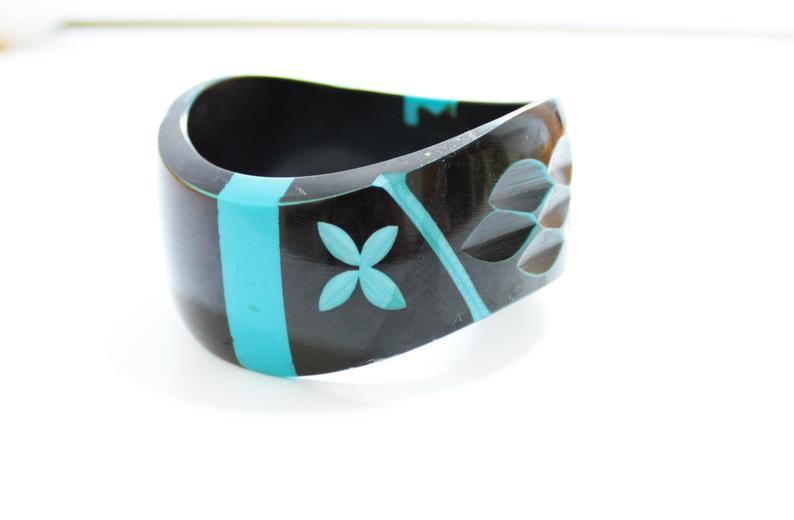 زفاف - Vintage Resin Bangle Flower Cuff Bracelet, Resin Bangle Women, Retro Boho Bracelet, Hippie Bangle, Plastic Boho Bangle, Unique Gift For Her
