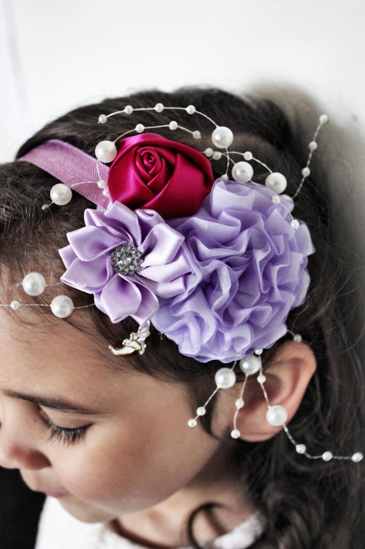 Wedding - Lilac Flower Headband, Flower Girl Headband, Wedding Headband, Pearl Headband, Raspberry Rose Childrens Headband Photo Prop 5T to Adult