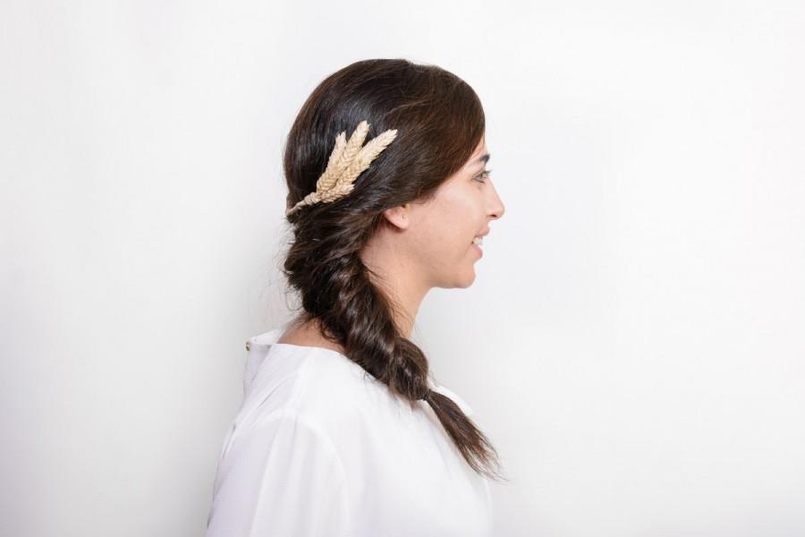 Wedding - Ross - Rustic bridal hair comb, beige headpiece, light beige hairpiece, rustic wedding, woodland wedding, meadieva headband, country wedding