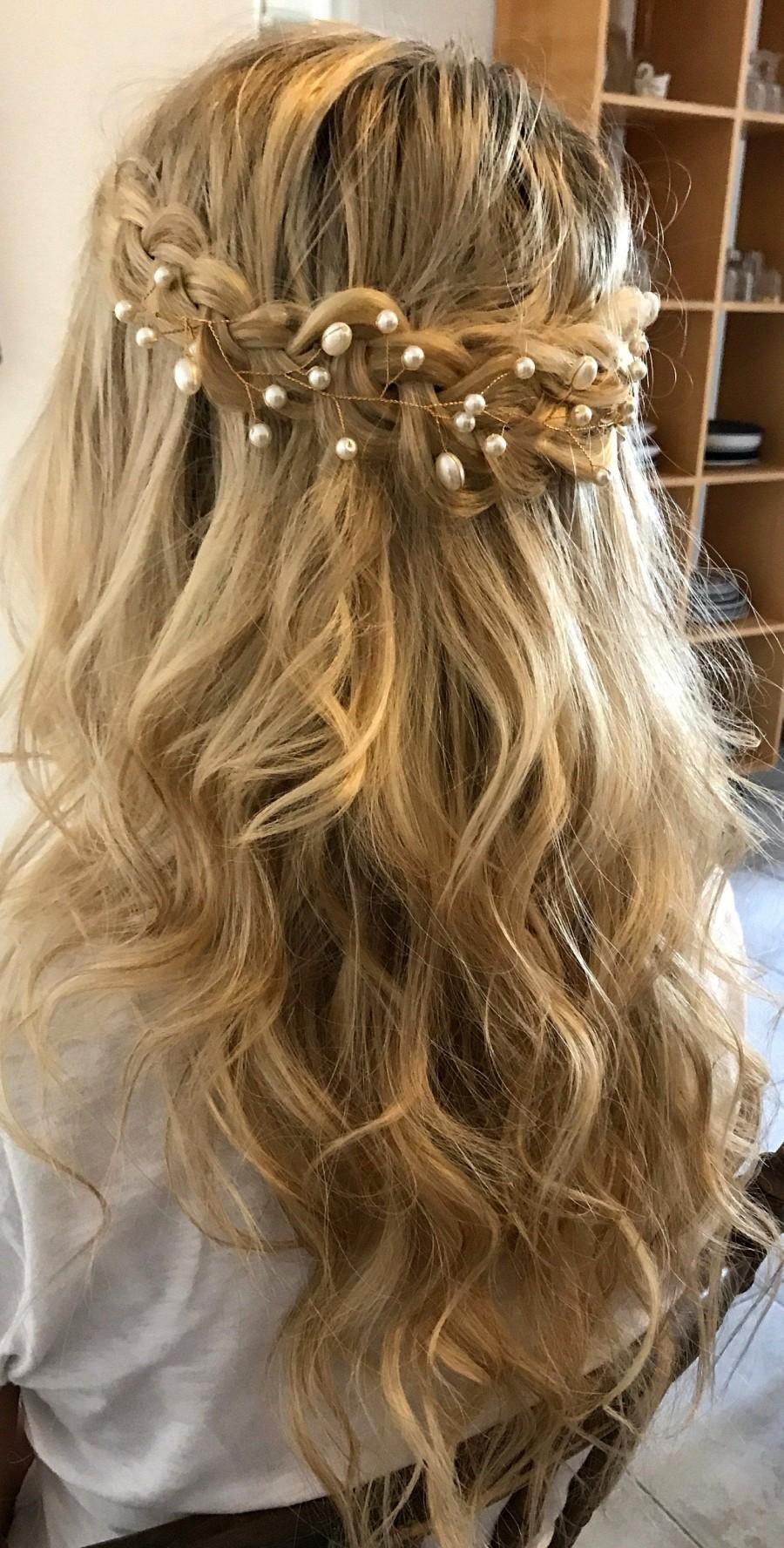 Mariage - Bridal hair vine Rose gold hair vine Babys breath Bridal hair piece Wedding hair piece Bridal headpiece Pearl Hair Vine Wedding headpiece