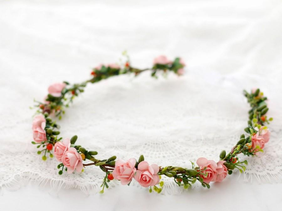 Wedding - Blush flower crown wedding, delicate floral hair crown, dainty flower crown, boho hair wreath, bridal rustic crown, bohemian floral crown