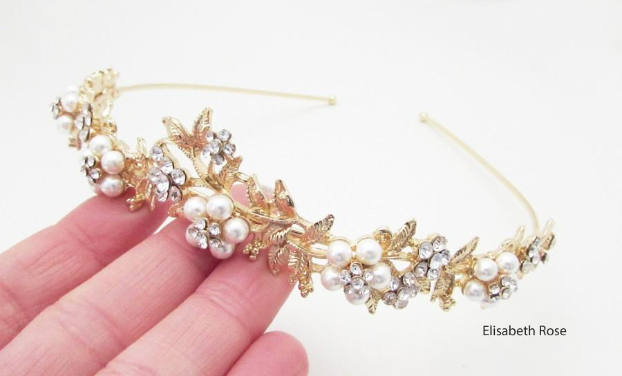 Hochzeit - Gold Pearl Wedding Hairband, Crystal and Pearl Embellished Hairband for Wedding, Gold Bridal Headband, Wedding Day Hairband