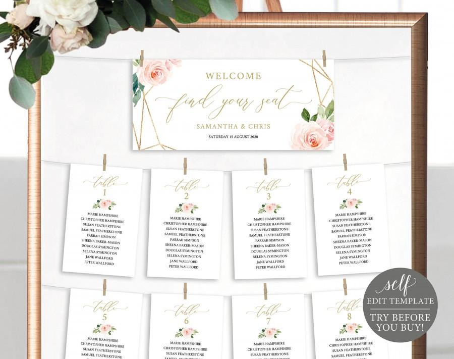 Wedding - Seating Chart Sign Template, TRY BEFORE You BUY, Fully Editable Instant Download, Blush Floral Cards