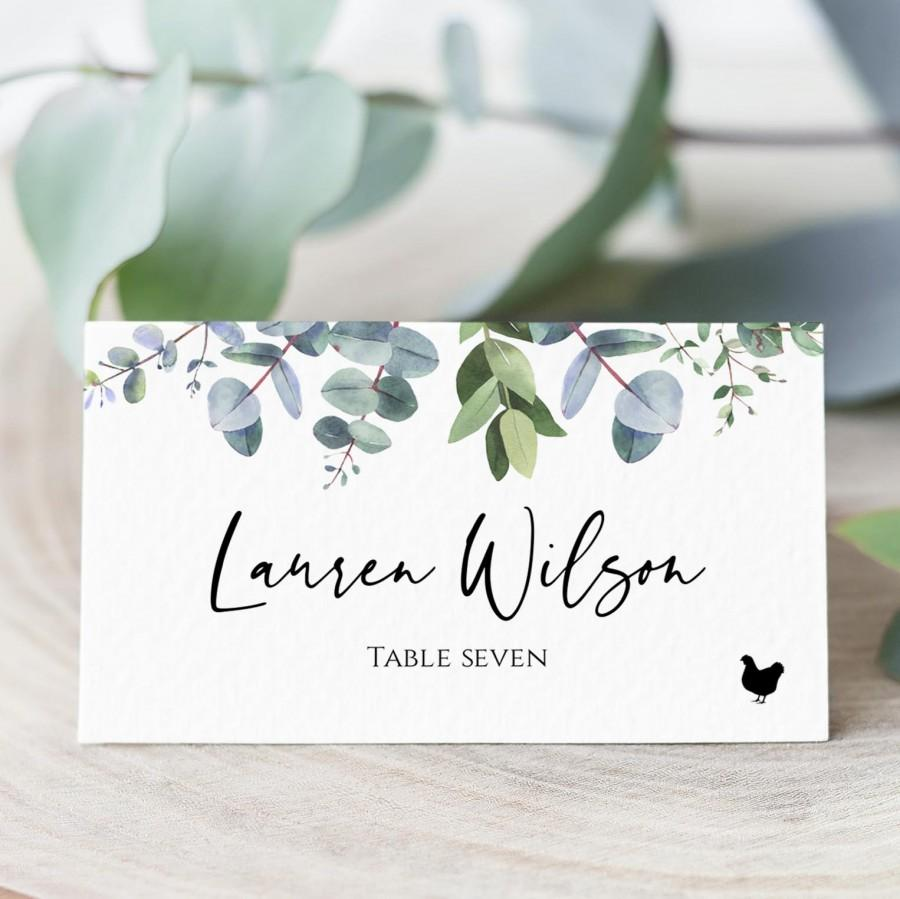 Hochzeit - Eucalyptus Place Card Template With Meal Icons, Editable Wedding Place Card, Printable Escort Cards, Folded Place Cards Flat,  Templett, C40