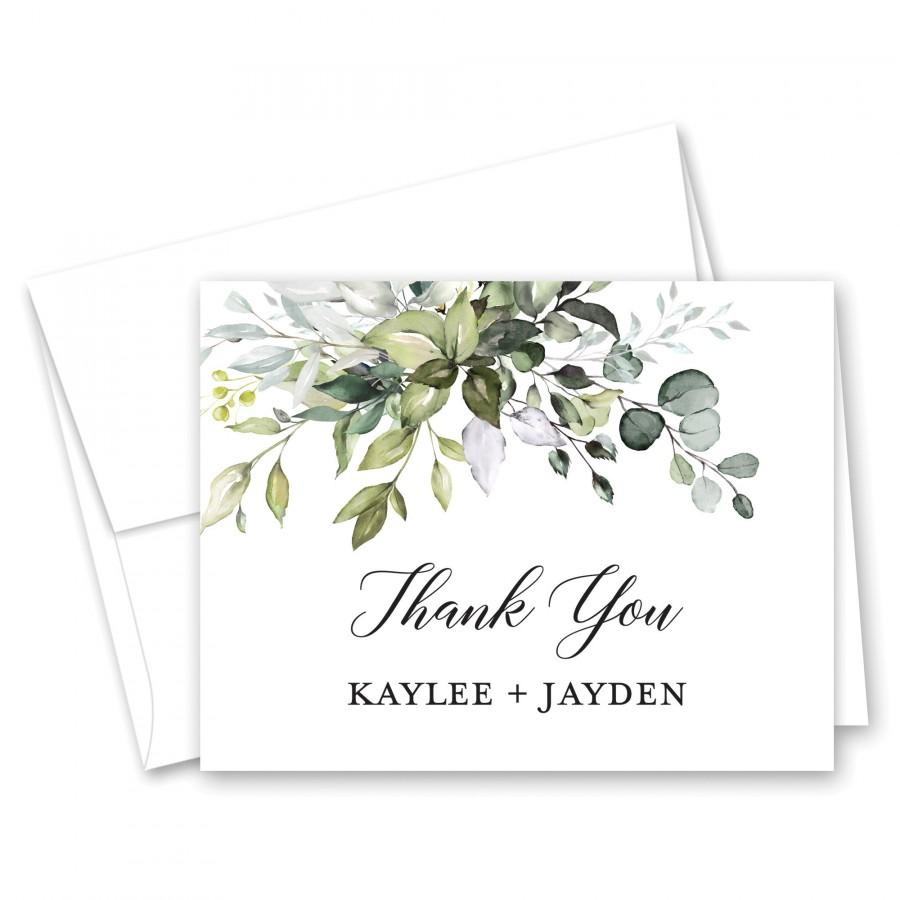 Wedding - Boho Watercolor Greenery - Eucalyptus Greenery Wedding Thank You Cards - Set of 10 with envelopes