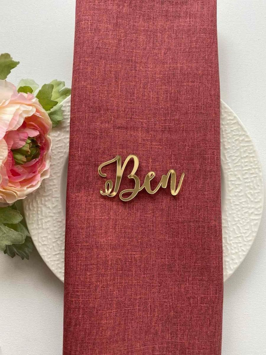 Mariage - Wedding Place cards, Laser cut name sign , Gold Mirror Laser Cut Names