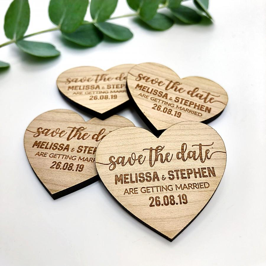 Mariage - Wedding Save The Dates Magnet, Personalised Wedding Invites, Fall Winter Spring Summer Save The Date, Wood Heart Custom Boho Bohemiam.