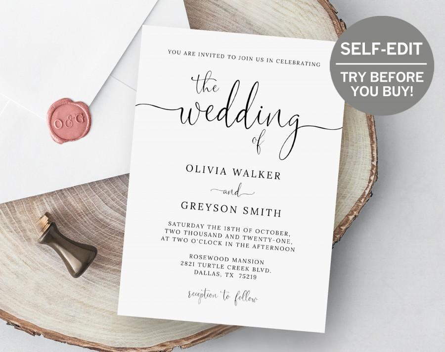 Wedding - Wedding Invitation Template, Editable Invitation Modern Calligraphy, Minimalist Wedding Invitation, Wedding Template, Script, Simple, Invite