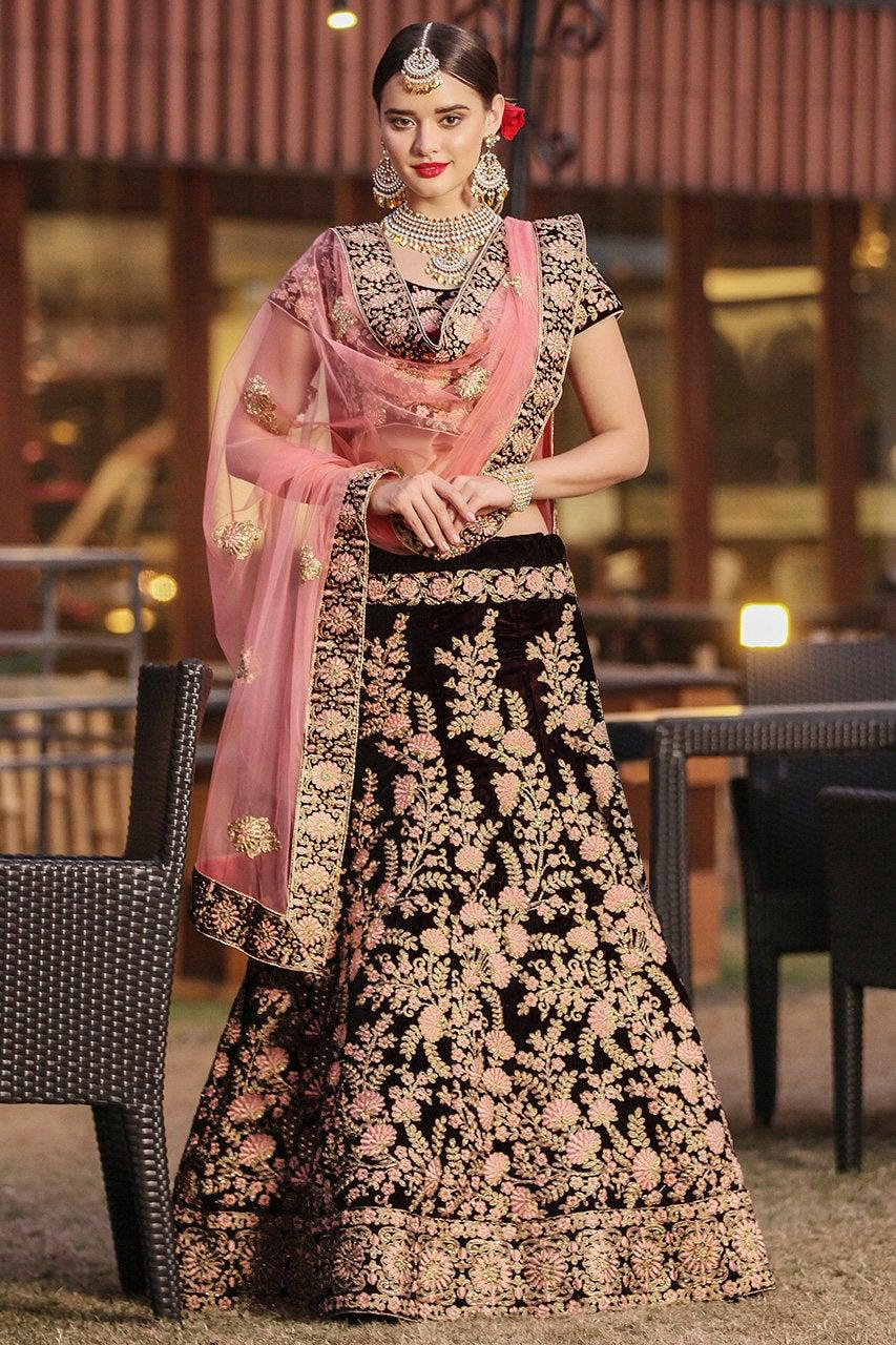 Wedding - Majestic Maroon Velvet Wedding Wear Embroidered work Bridesmaid Lehenga Choli for usa wedding women Online Boutique