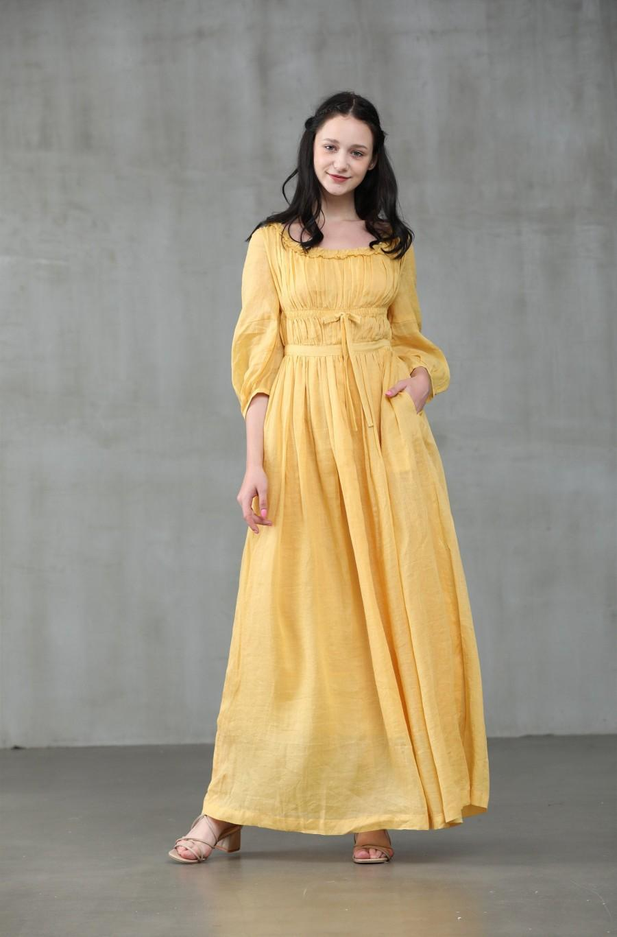 Wedding - maxi linen dress in yellow, ruffle dress, bridal dress, wedding dress, layered dress, princess dress