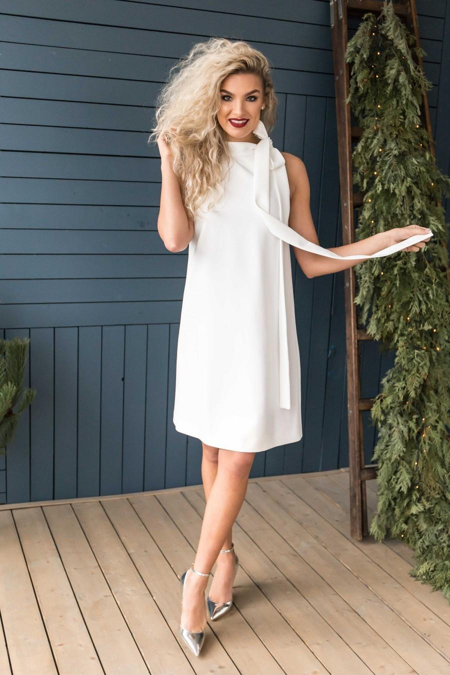 Mariage - Casual White Dress, Simple Wedding Dress Short, Knee Length Dress with Bow, Loose Fit dress, Casual Dress for women, Size XS / Size XL