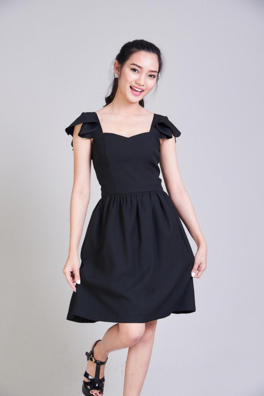 Mariage - Olivia - Black Bridesmaid Dress Little Black Dress Ruffle Sleeve Summer Dress Vintage Inspired Swing Dance Dress Formal Dress
