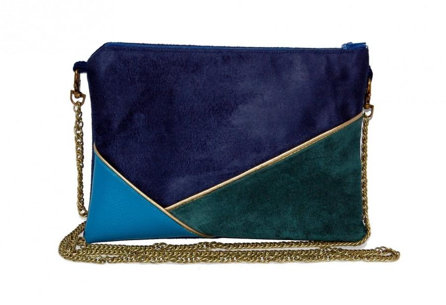 Mariage - Wedding pouch, evening pouch, Navy Blue, duck and Peacock green, Golden lines-after the beach ©
