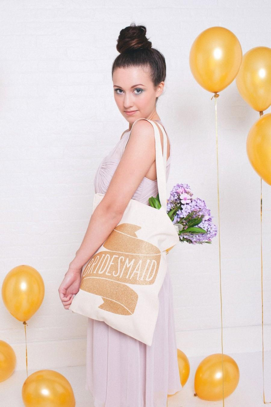 Hochzeit - Glitter Bridesmaid Tote Bag - Gold Wedding Tote - Bridal Party - Hen party - Bridesmaid Gifts - bachelorette party - Bride tribe