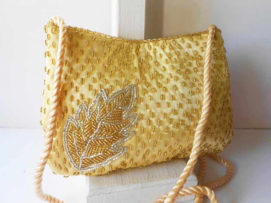 Hochzeit - Vintage Gold Evening Bag, Sparkly Gold Beaded Handbag, Gold Clutch Bag EB-0613