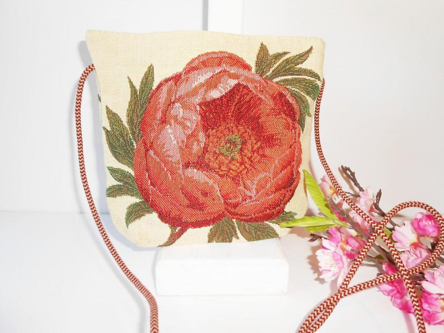 Wedding - Vintage Tapestry Bag, Made in Belgium, Colorful Floral Evening Bag, EB-0463